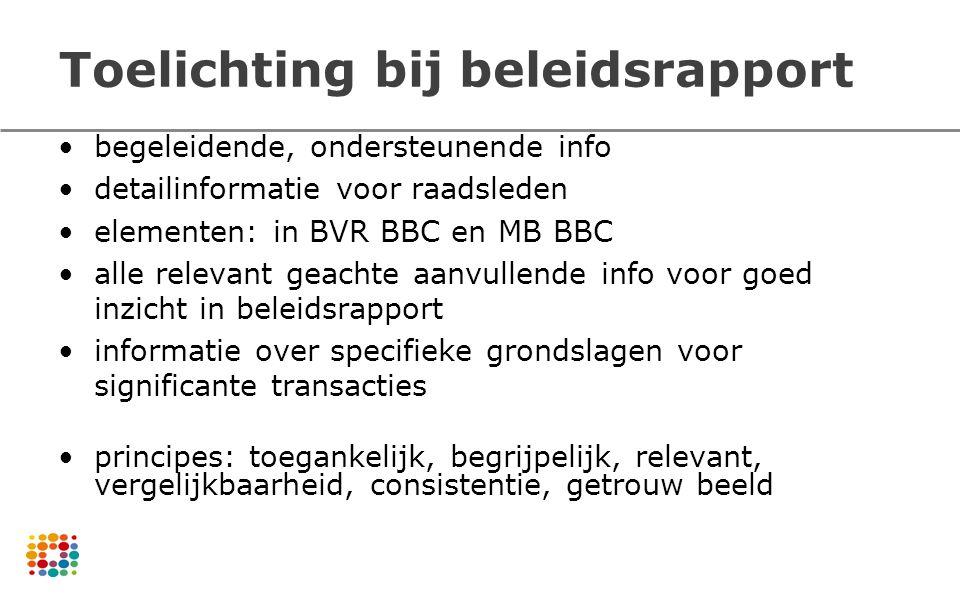 Toelichting bij beleidsrapport begeleidende, ondersteunende info detailinformatie voor raadsleden elementen: in BVR BBC en MB BBC alle relevant geacht