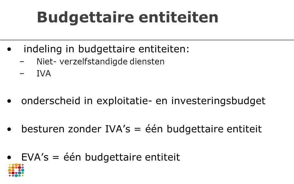 Budgettaire entiteiten indeling in budgettaire entiteiten: –Niet- verzelfstandigde diensten –IVA onderscheid in exploitatie- en investeringsbudget bes