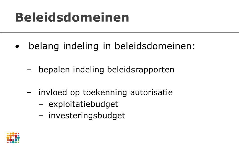 Beleidsdomeinen belang indeling in beleidsdomeinen: –bepalen indeling beleidsrapporten –invloed op toekenning autorisatie –exploitatiebudget –invester