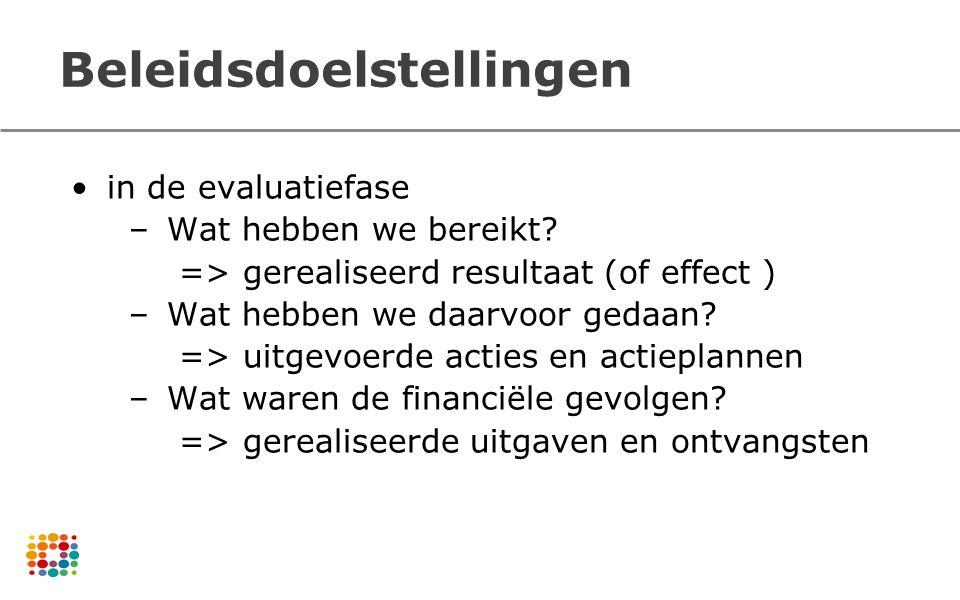 Beleidsdoelstellingen in de evaluatiefase –Wat hebben we bereikt? => gerealiseerd resultaat (of effect ) –Wat hebben we daarvoor gedaan? => uitgevoerd