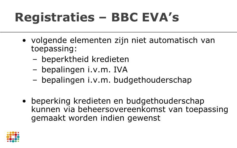 Registraties – BBC EVA's volgende elementen zijn niet automatisch van toepassing: –beperktheid kredieten –bepalingen i.v.m. IVA –bepalingen i.v.m. bud