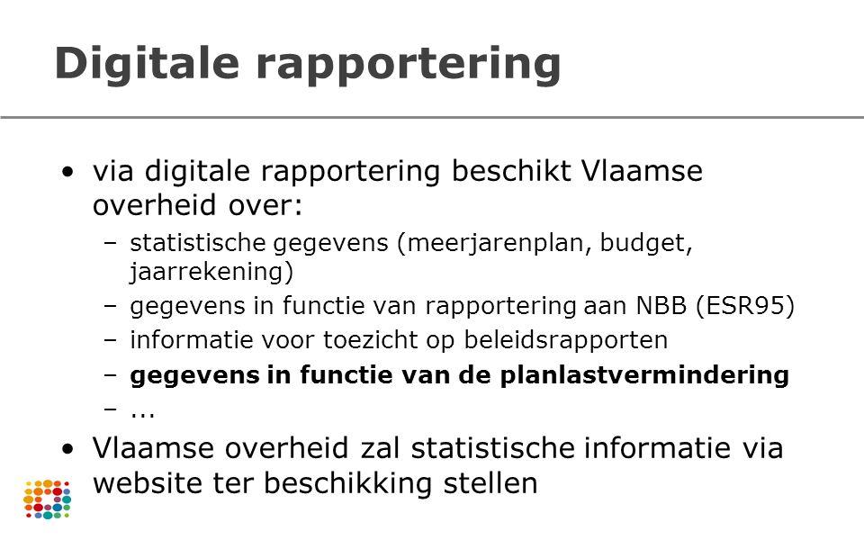 Digitale rapportering via digitale rapportering beschikt Vlaamse overheid over: –statistische gegevens (meerjarenplan, budget, jaarrekening) –gegevens