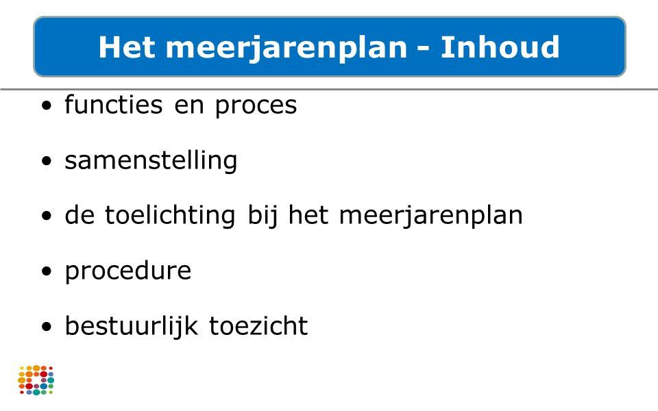 functies en proces samenstelling de toelichting bij het meerjarenplan procedure bestuurlijk toezicht Het meerjarenplan - Inhoud