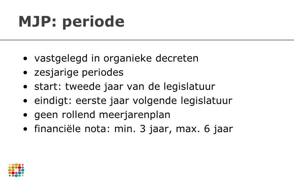 MJP: periode vastgelegd in organieke decreten zesjarige periodes start: tweede jaar van de legislatuur eindigt: eerste jaar volgende legislatuur geen