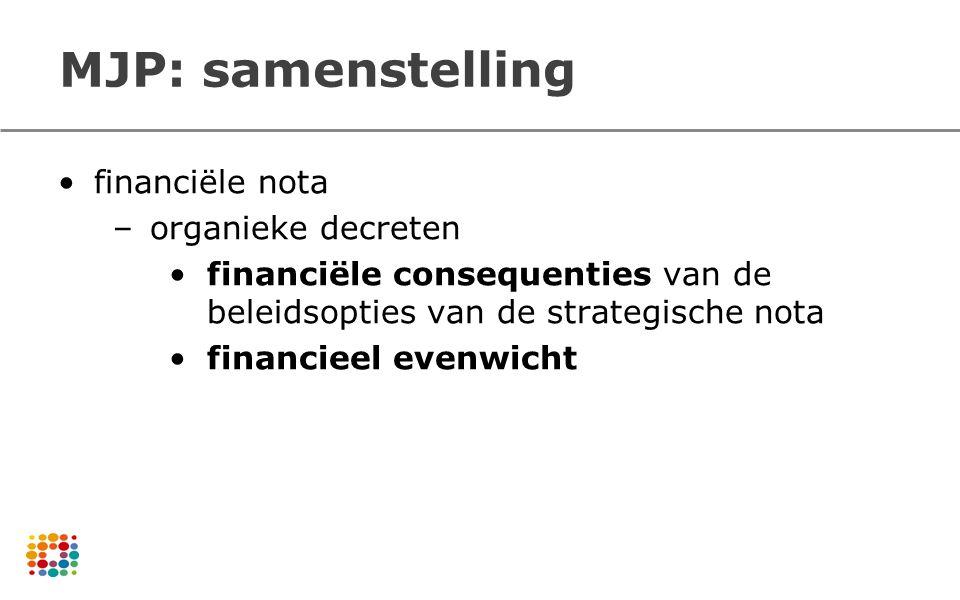 financiële nota –organieke decreten financiële consequenties van de beleidsopties van de strategische nota financieel evenwicht MJP: samenstelling