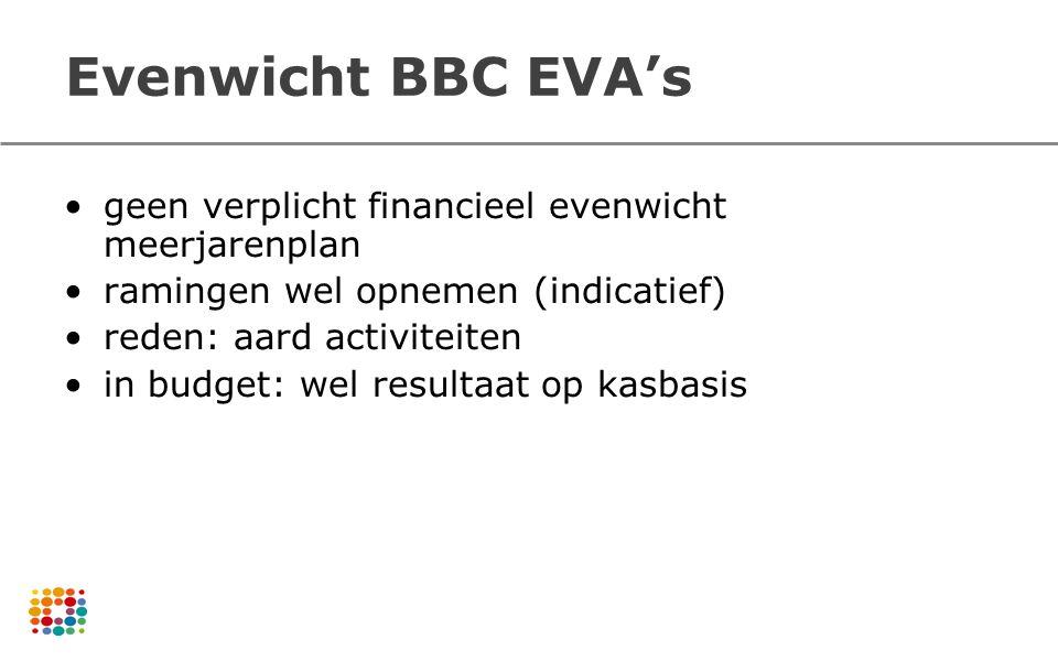 Evenwicht BBC EVA's geen verplicht financieel evenwicht meerjarenplan ramingen wel opnemen (indicatief) reden: aard activiteiten in budget: wel result