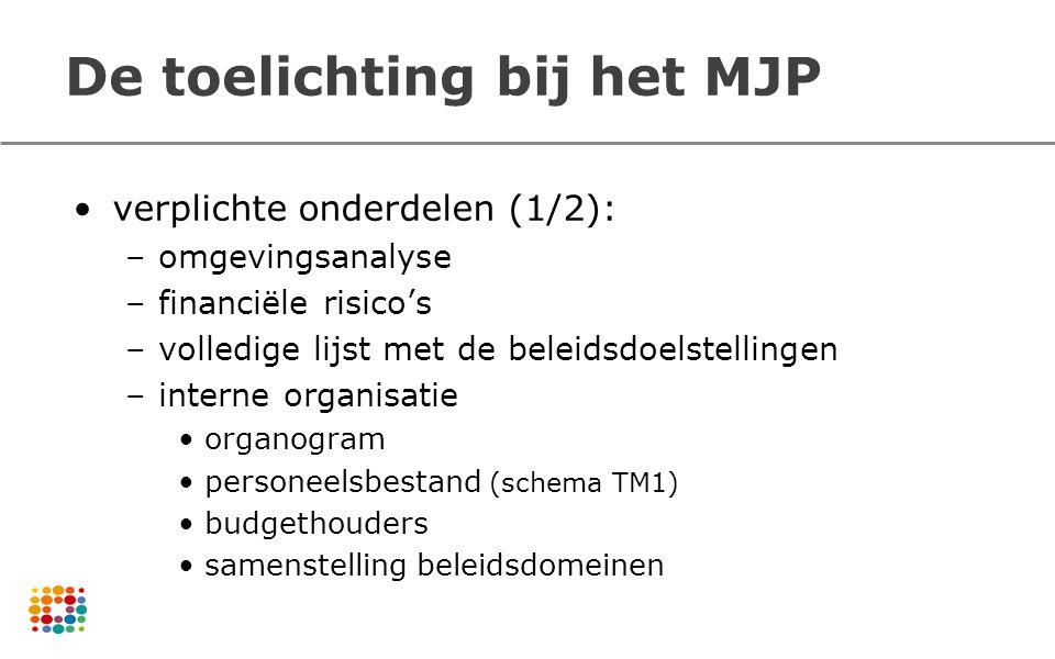 De toelichting bij het MJP verplichte onderdelen (1/2): –omgevingsanalyse –financiële risico's –volledige lijst met de beleidsdoelstellingen –interne