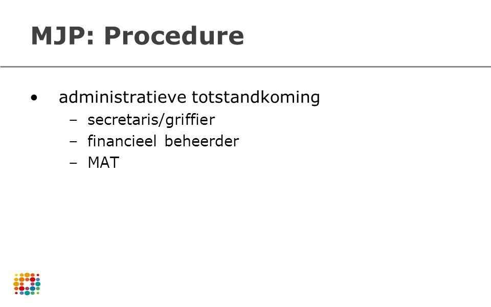 MJP: Procedure administratieve totstandkoming –secretaris/griffier –financieel beheerder –MAT