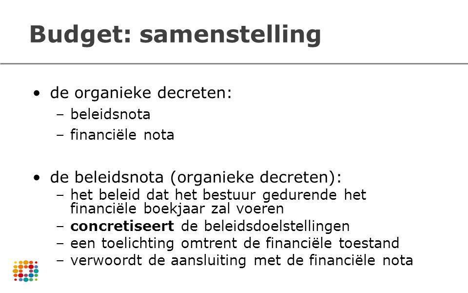 Budget: samenstelling de organieke decreten: –beleidsnota –financiële nota de beleidsnota (organieke decreten): –het beleid dat het bestuur gedurende