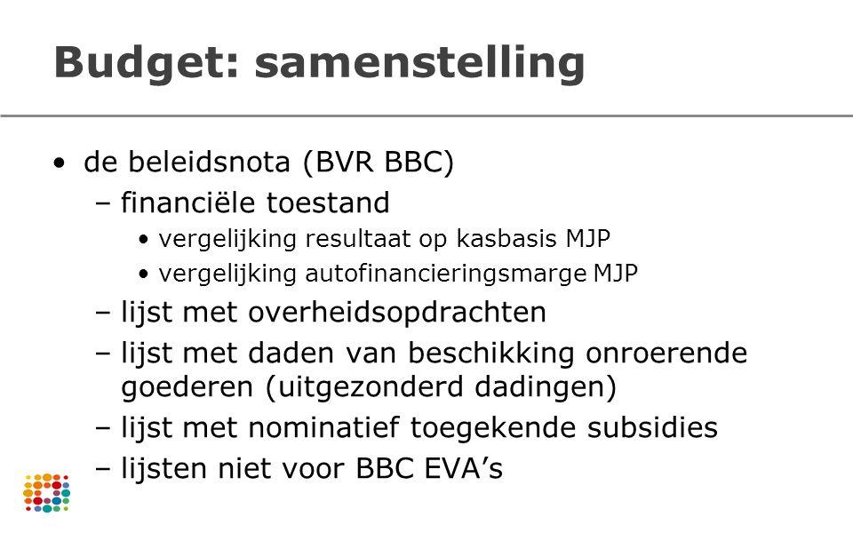 Budget: samenstelling de beleidsnota (BVR BBC) –financiële toestand vergelijking resultaat op kasbasis MJP vergelijking autofinancieringsmarge MJP –li