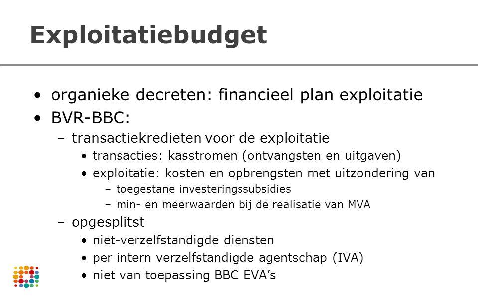 Exploitatiebudget organieke decreten: financieel plan exploitatie BVR-BBC: –transactiekredieten voor de exploitatie transacties: kasstromen (ontvangst