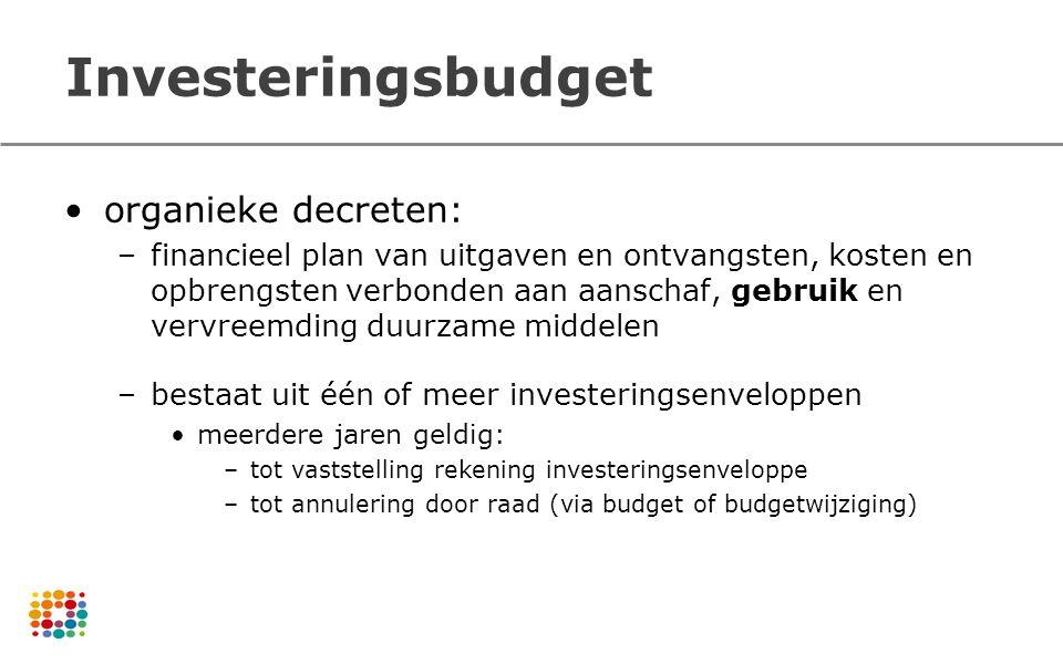 Investeringsbudget organieke decreten: –financieel plan van uitgaven en ontvangsten, kosten en opbrengsten verbonden aan aanschaf, gebruik en vervreem
