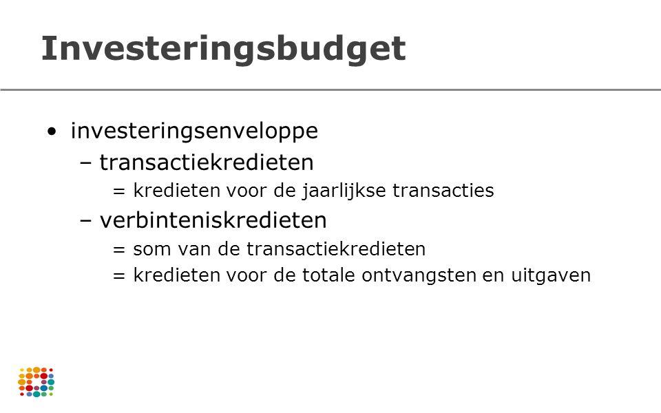 Investeringsbudget investeringsenveloppe –transactiekredieten = kredieten voor de jaarlijkse transacties –verbinteniskredieten = som van de transactie