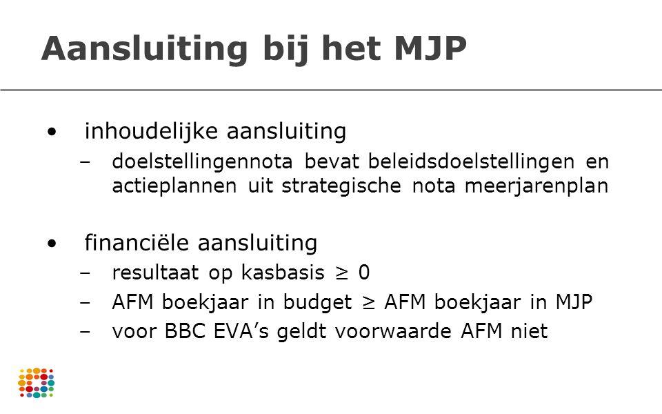 Aansluiting bij het MJP inhoudelijke aansluiting –doelstellingennota bevat beleidsdoelstellingen en actieplannen uit strategische nota meerjarenplan f