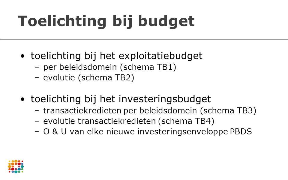 Toelichting bij budget toelichting bij het exploitatiebudget –per beleidsdomein (schema TB1) –evolutie (schema TB2) toelichting bij het investeringsbu