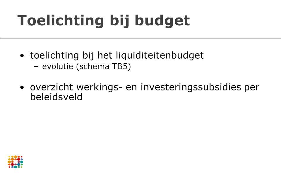 Toelichting bij budget toelichting bij het liquiditeitenbudget –evolutie (schema TB5) overzicht werkings- en investeringssubsidies per beleidsveld