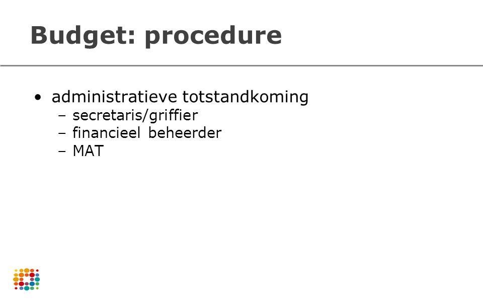 Budget: procedure administratieve totstandkoming –secretaris/griffier –financieel beheerder –MAT