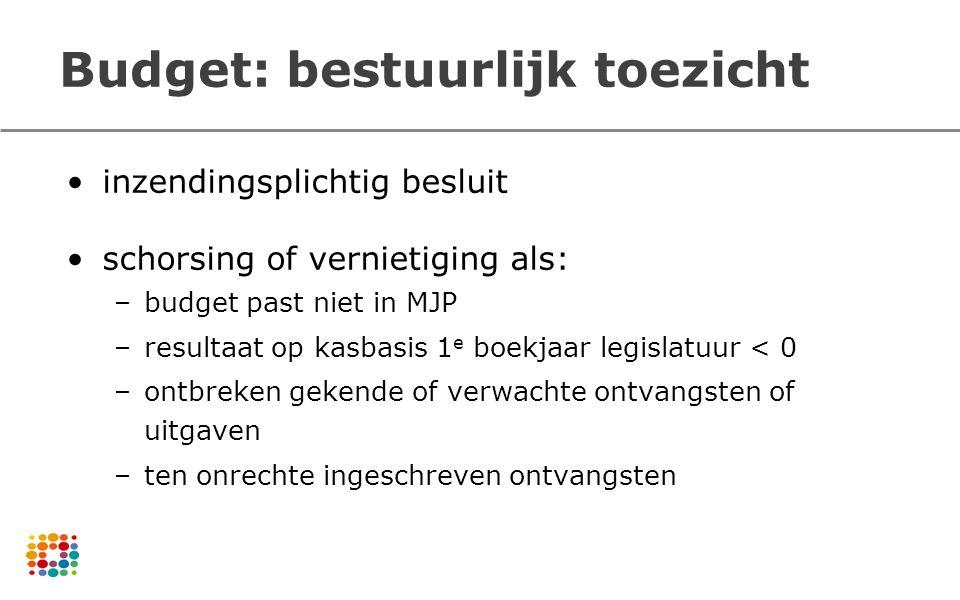 Budget: bestuurlijk toezicht inzendingsplichtig besluit schorsing of vernietiging als: –budget past niet in MJP –resultaat op kasbasis 1 e boekjaar le
