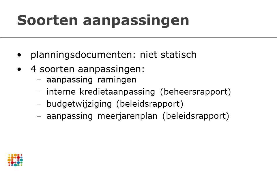 Soorten aanpassingen planningsdocumenten: niet statisch 4 soorten aanpassingen: –aanpassing ramingen –interne kredietaanpassing (beheersrapport) –budg