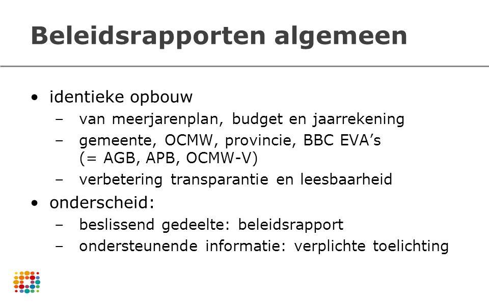 Beleidsrapporten algemeen identieke opbouw –van meerjarenplan, budget en jaarrekening –gemeente, OCMW, provincie, BBC EVA's (= AGB, APB, OCMW-V) –verb