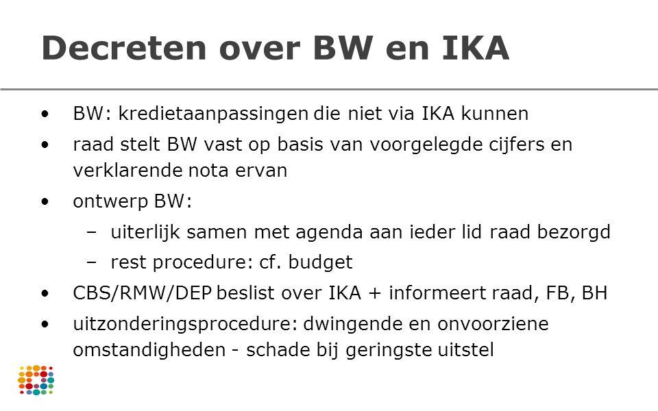 Decreten over BW en IKA BW: kredietaanpassingen die niet via IKA kunnen raad stelt BW vast op basis van voorgelegde cijfers en verklarende nota ervan