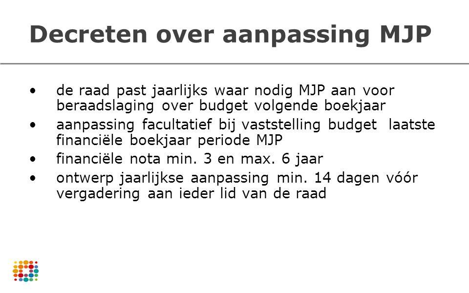 Decreten over aanpassing MJP de raad past jaarlijks waar nodig MJP aan voor beraadslaging over budget volgende boekjaar aanpassing facultatief bij vas