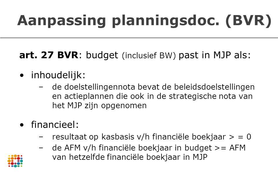 art. 27 BVR: budget (inclusief BW) past in MJP als: inhoudelijk: –de doelstellingennota bevat de beleidsdoelstellingen en actieplannen die ook in de s