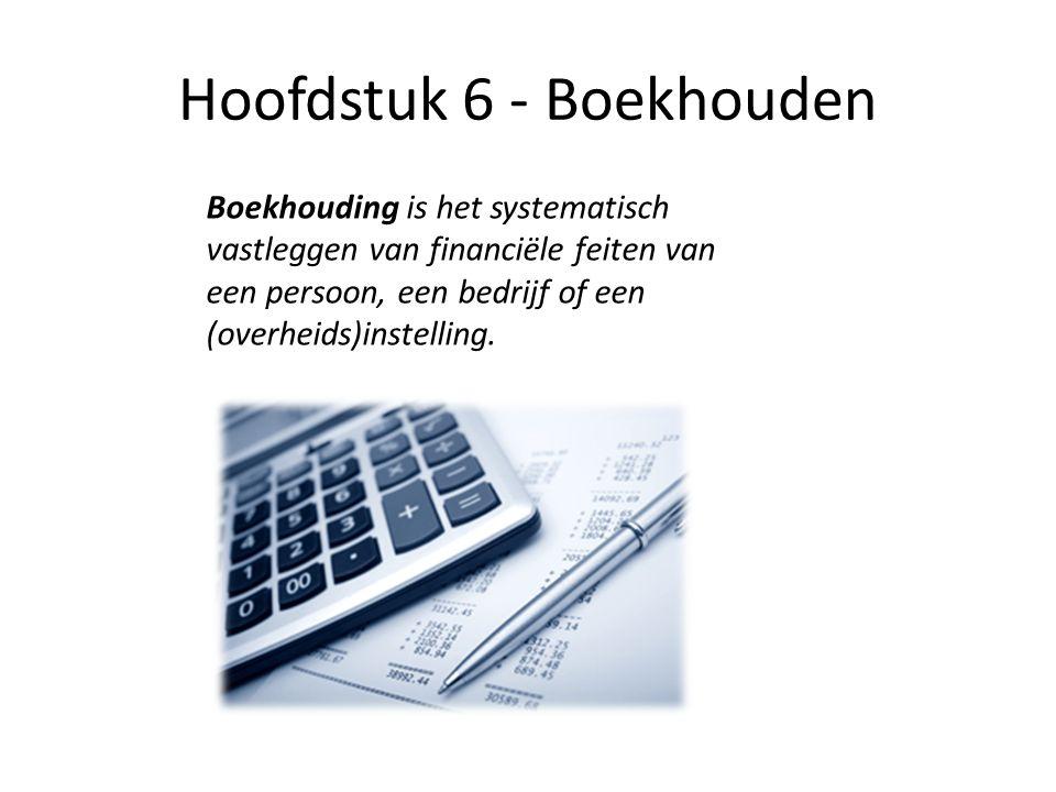 Hoofdstuk 6 - Boekhouden Boekhouding is het systematisch vastleggen van financiële feiten van een persoon, een bedrijf of een (overheids)instelling.
