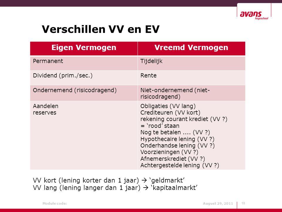 Module code: August 29, 2011 Verschillen VV en EV 18 Eigen VermogenVreemd Vermogen PermanentTijdelijk Dividend (prim./sec.)Rente Ondernemend (risicodr