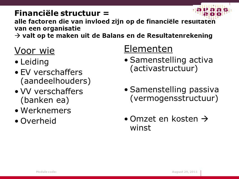 Module code: August 29, 2011 Financiële structuur = alle factoren die van invloed zijn op de financiële resultaten van een organisatie  valt op te ma
