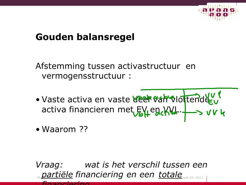 Module code: August 29, 2011 Gouden balansregel Afstemming tussen activastructuur en vermogensstructuur : Vaste activa en vaste deel van vlottende act