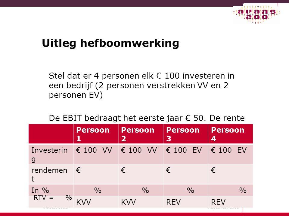 Module code: August 29, 2011 Uitleg hefboomwerking Stel dat er 4 personen elk € 100 investeren in een bedrijf (2 personen verstrekken VV en 2 personen