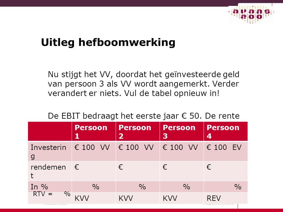 Module code: August 29, 2011 Uitleg hefboomwerking Nu stijgt het VV, doordat het geïnvesteerde geld van persoon 3 als VV wordt aangemerkt. Verder vera
