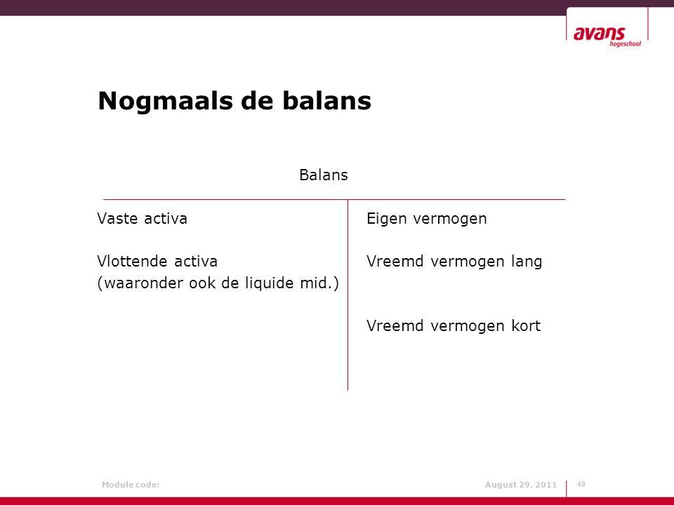 Module code: August 29, 2011 Nogmaals de balans Balans Vaste activaEigen vermogen Vlottende activaVreemd vermogen lang (waaronder ook de liquide mid.)