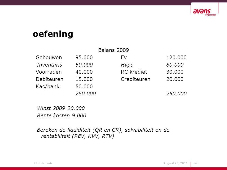 Module code: August 29, 2011 oefening Balans 2009 Gebouwen95.000Ev120.000 Inventaris50.000Hypo80.000 Voorraden40.000RC krediet30.000 Debiteuren15.000C