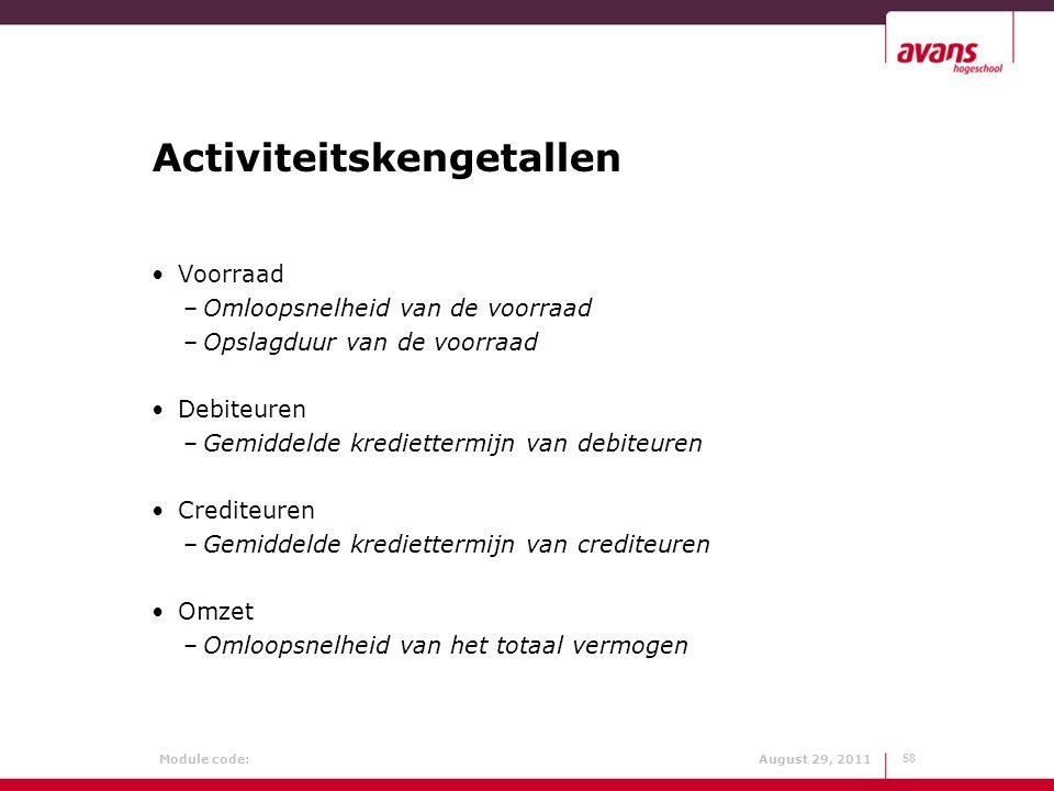 Module code: August 29, 2011 Activiteitskengetallen Voorraad –Omloopsnelheid van de voorraad –Opslagduur van de voorraad Debiteuren –Gemiddelde kredie