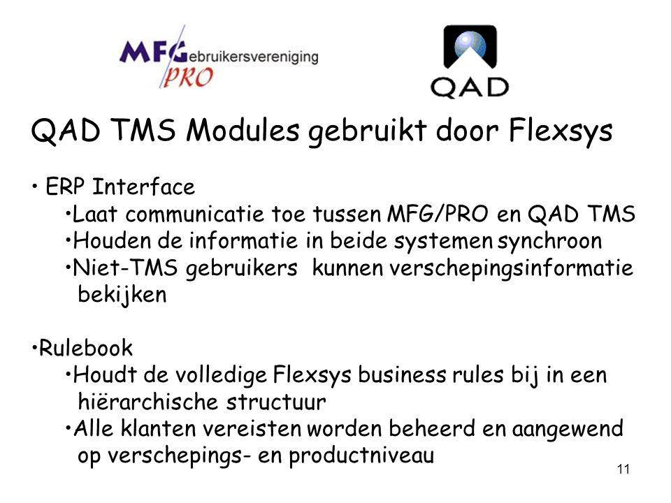 11 QAD TMS Modules gebruikt door Flexsys ERP Interface Laat communicatie toe tussen MFG/PRO en QAD TMS Houden de informatie in beide systemen synchroo