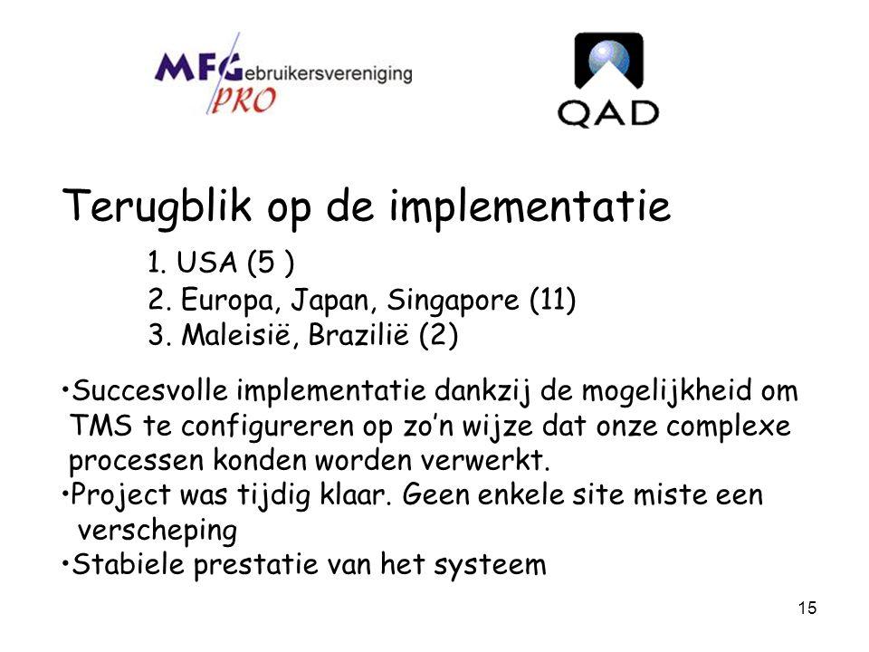 15 Terugblik op de implementatie 1. USA (5 ) 2. Europa, Japan, Singapore (11) 3. Maleisië, Brazilië (2) Succesvolle implementatie dankzij de mogelijkh