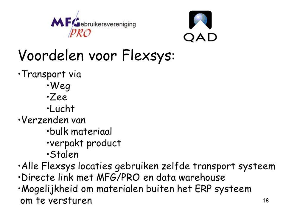 18 Voordelen voor Flexsys : Transport via Weg Zee Lucht Verzenden van bulk materiaal verpakt product Stalen Alle Flexsys locaties gebruiken zelfde tra
