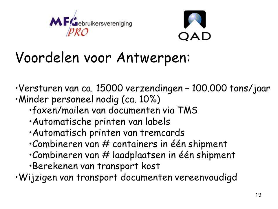 19 Voordelen voor Antwerpen: Versturen van ca. 15000 verzendingen – 100.000 tons/jaar Minder personeel nodig (ca. 10%) faxen/mailen van documenten via