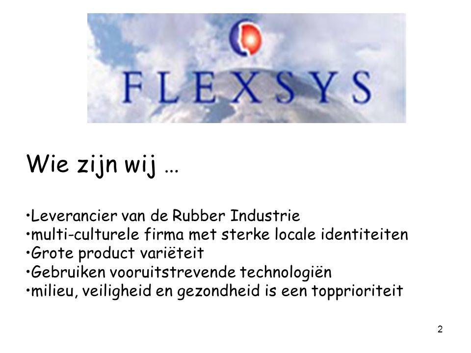 2 Wie zijn wij … Leverancier van de Rubber Industrie multi-culturele firma met sterke locale identiteiten Grote product variëteit Gebruiken vooruitstr