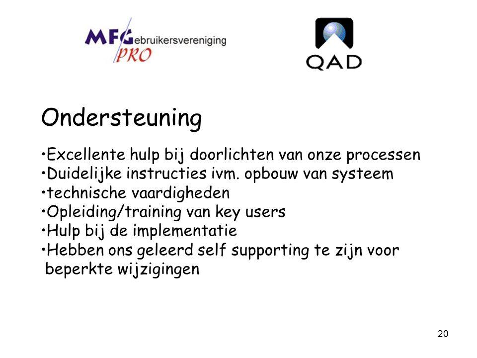 20 Ondersteuning Excellente hulp bij doorlichten van onze processen Duidelijke instructies ivm. opbouw van systeem technische vaardigheden Opleiding/t