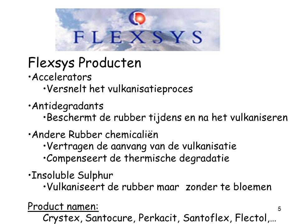 5 Flexsys Producten Accelerators Versnelt het vulkanisatieproces Antidegradants Beschermt de rubber tijdens en na het vulkaniseren Andere Rubber chemi
