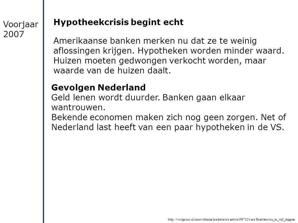 http://vorige.nrc.nl/nieuwsthema/kredietcrisis/article1987320.ece/Kredietcrisis_in_vijf_stappen Voorjaar 2007 Hypotheekcrisis begint echt Amerikaanse
