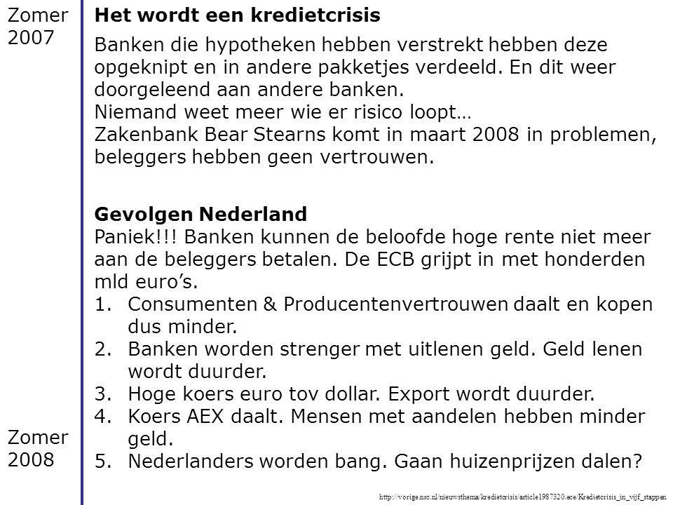 http://vorige.nrc.nl/nieuwsthema/kredietcrisis/article1987320.ece/Kredietcrisis_in_vijf_stappen Zomer 2007 Het wordt een kredietcrisis Banken die hypo
