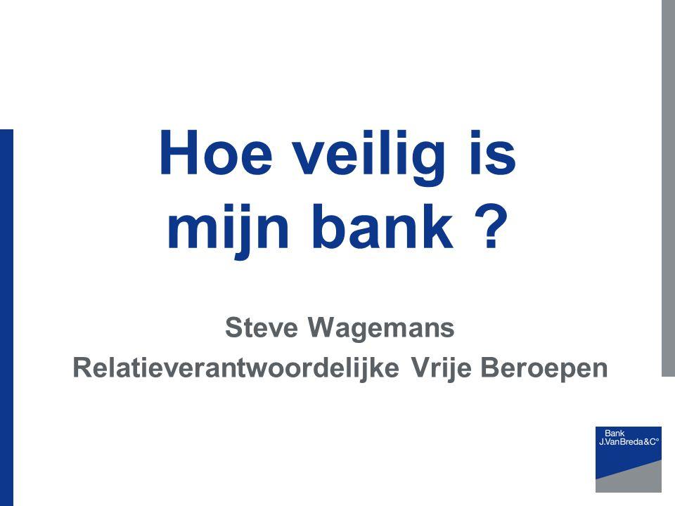 Hoe veilig is mijn bank ? Steve Wagemans Relatieverantwoordelijke Vrije Beroepen