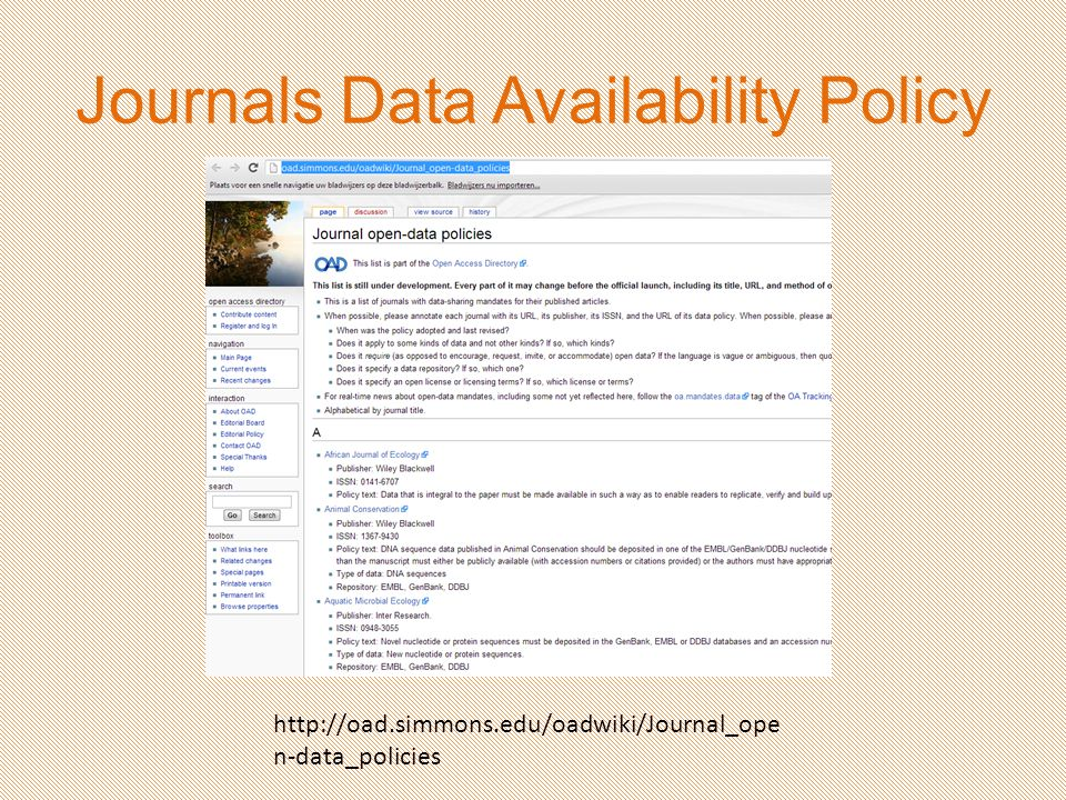 http://oad.simmons.edu/oadwiki/Journal_ope n-data_policies