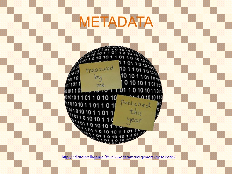 METADATA http://dataintelligence.3tu.nl/ii-data-management/metadata/