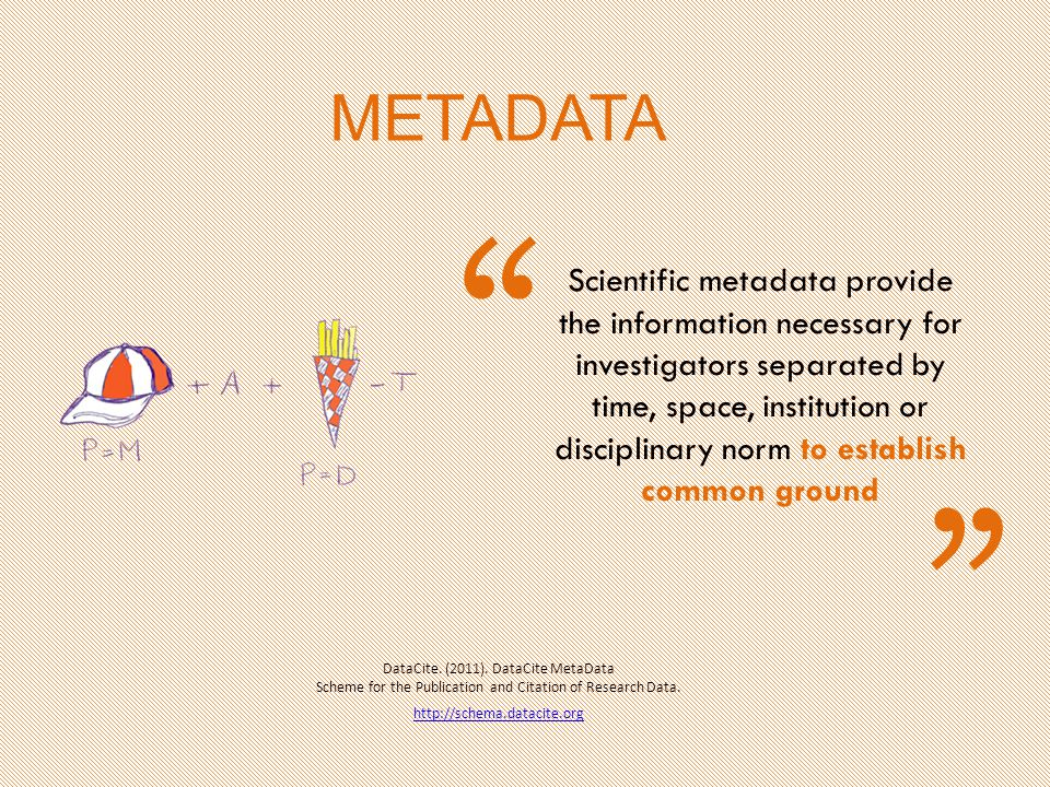 Scientific metadata provide the information necessary for investigators separated by time, space, institution or disciplinary norm to establish common ground DataCite.
