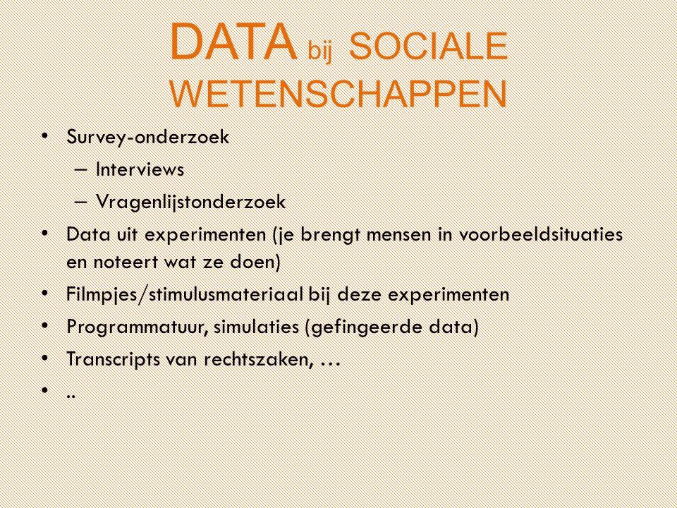DATA bij SOCIALE WETENSCHAPPEN Survey-onderzoek – Interviews – Vragenlijstonderzoek Data uit experimenten (je brengt mensen in voorbeeldsituaties en n